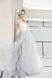 Sexy Top A-line White Lace Grey Tulle Strapless Sweetheart Neck Wedding Dress