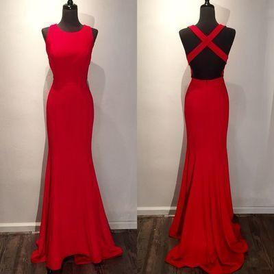 Red Long Backless Scoop Sleeveless Criss Cross Mermaid Floor-Length Sweep Train