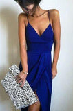 Long Royal Blue V-Neck Criss Cross Spaghetti Straps Slit Mermaid New Style Evening Dresses