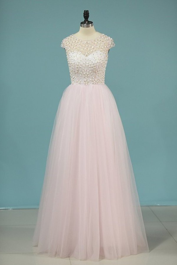 Scoop Prom Dresses A Line Tulle With PKJEZT11