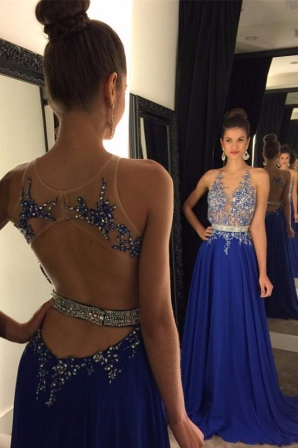2020 Scoop Prom Dresses A Line Chiffon With Applique And Beads PFHX46YX