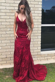 Elegant Straps V Neck Lace Mermaid Long Evening Dresses Prom STKPS1EG38N