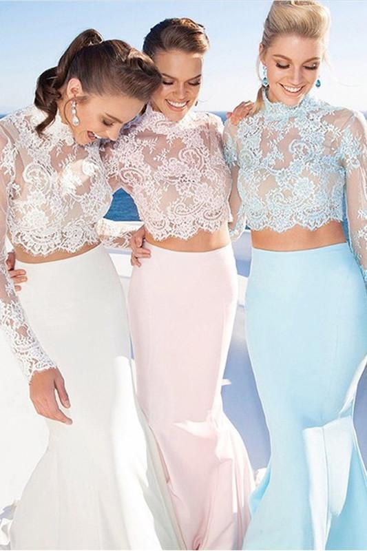 Pale Pink Two Pieces Long Sleeves Lace Mermaid See Through Jewel Neckline Prom Dresses