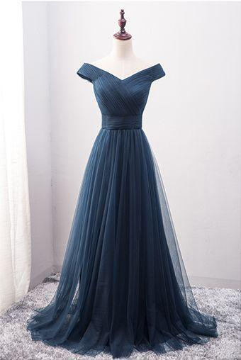 Navy Blue Prom Dress Off the Shoulder Prom Dress Custom Made Evening Dress