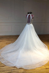 Simple Halter Court Train Tulle Wedding Dresses A Line Sleeveless Bridal STKP5QM4JP3