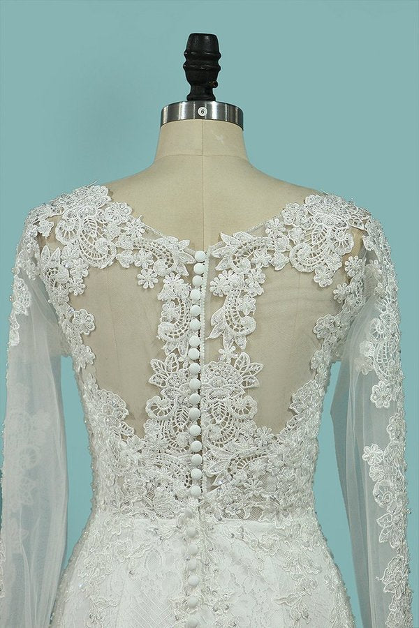 Scoop Mermaid Wedding Dresses Long Sleeves P86B185G