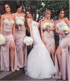 Mermaid Sweetheart Blush Bridesmaid Dresses with Lace, Wedding Party STK20465