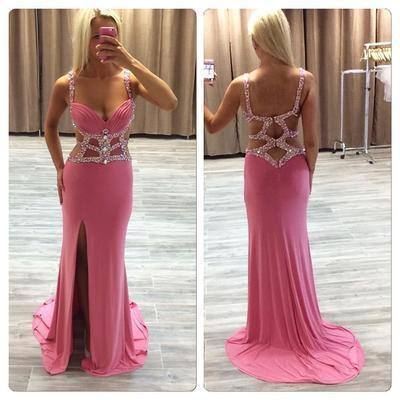Sexy Mermaid Beaded See Through Long V-Neck Pink Custom Prom Dresses