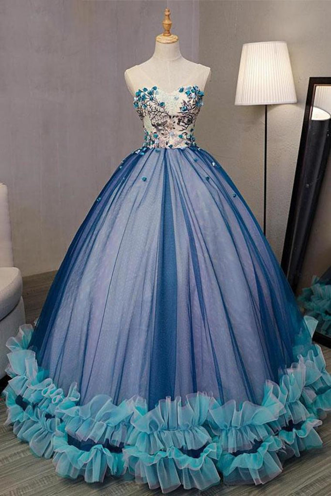 Ball Gown V Neck Sleeveless Appliqued Tulle Prom Dress Hot Quinceanera STKP46YC47P