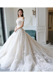 Ball Gown Off The Shoulder Appliques Wedding Dresses Ivory Bridal STKPAQ8752B