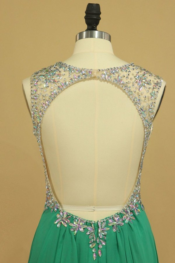 Scoop Open Back A Line With Beads Prom Dresses P2JB7SD7