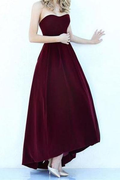Modest High Low Burgundy Prom Gowns Wine Red Prom Dresses