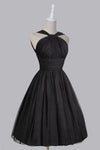 Vintage A-line Straps Knee-Length Chiffon Sash Backless Black Party Homecoming Dresses