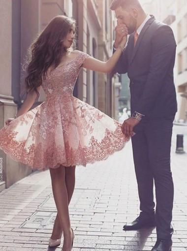 Off Shoulder Short Sleeves Mini Blush Lace Homecoming Dress with Appliques