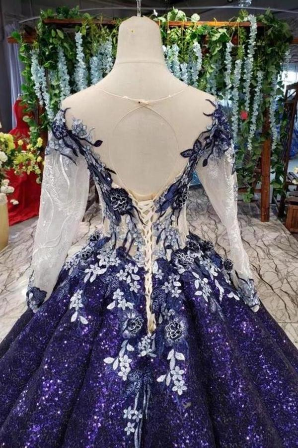 Ball Gown Long Sleeves Sequins Scoop Prom Dress Puffy Quinceanera PD7K4YF7