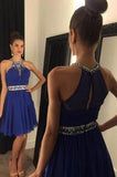 Royal Blue Chiffon Halter Short Best homecoming dress dresses for homecoming