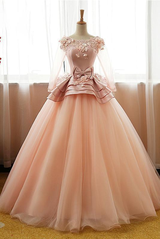 Vintage Pink Flower Long Sleeves Puffy Tulle Long Quinceanera Dress Prom Dresses