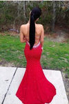 Red Halter Scoop Open Back Mermaid Sleeveless Sexy Backless Prom Dress Evening Dress
