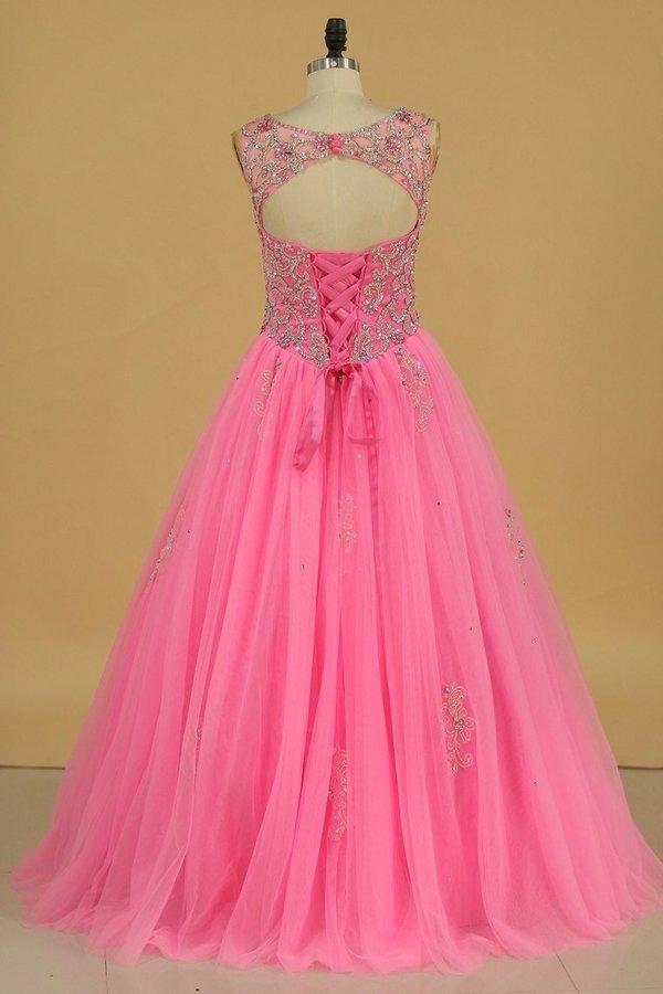 2020 Tulle Scoop Open Back Quinceanera Dresses With P9NFGA8R