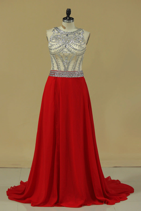 Scoop Prom Dresses A Line Beaded Bodice Court P6QDJ87D