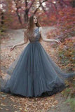 V-Back Tulle Gray Charming Popular Pretty Evening Long Prom Dresses Online