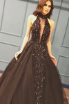Sexy Ball Gown High Neck Black Tulle V Neck Sequins Party Dresses Prom STKPQC2HNL1