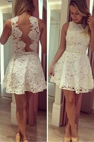 See through Lace Short A-Line Cute Sexy Cheap Dresses for Homecoming Graduation Dress