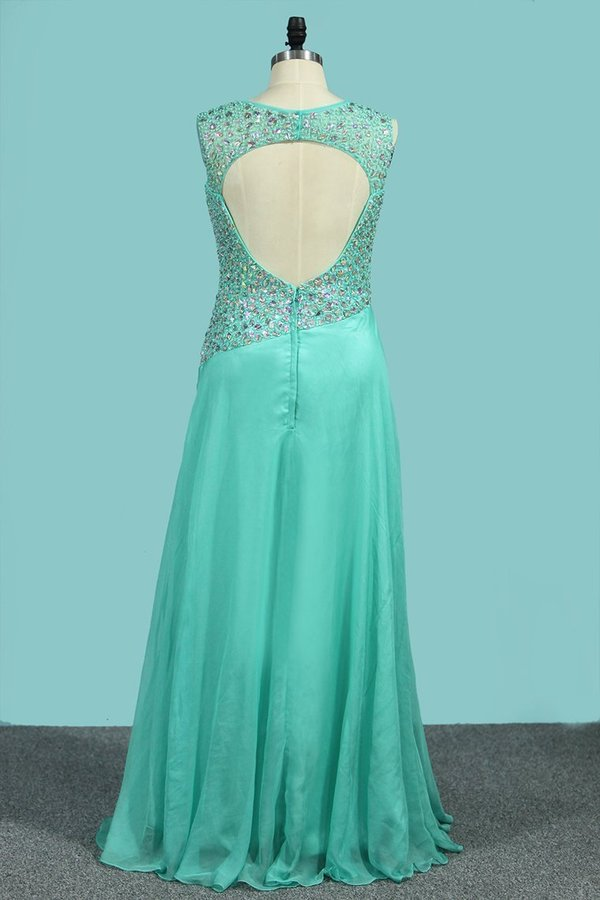 Scoop Neckline Prom Dresses A Line Beaded Bodice Floor PT8L95AM