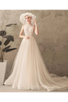 Ivory Jewel Sleeveless Tulle Wedding Dress With Lace A Line Pleats Open Back Bridal STKPXNMNP57