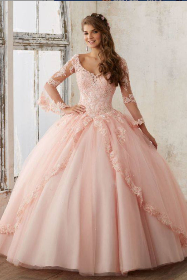 2020 V Neck Quinceanera Dresses Ball Gown Long Sleeves Tulle PZNRP2BC
