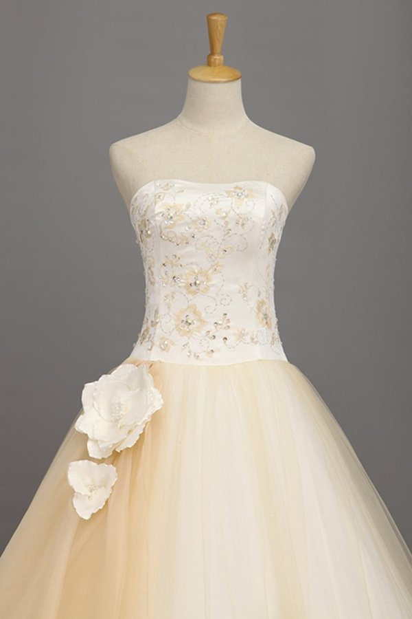 Ball Gown Quinceanera Dresses Sweetheart Floor Length With Handmade Flower PHGJBQMA