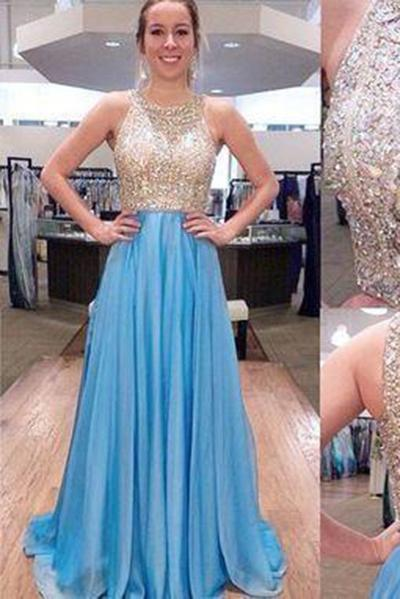 New Fashion Blue With Beads Mermaid Backless Prom Dress Evening Gowns For Teen