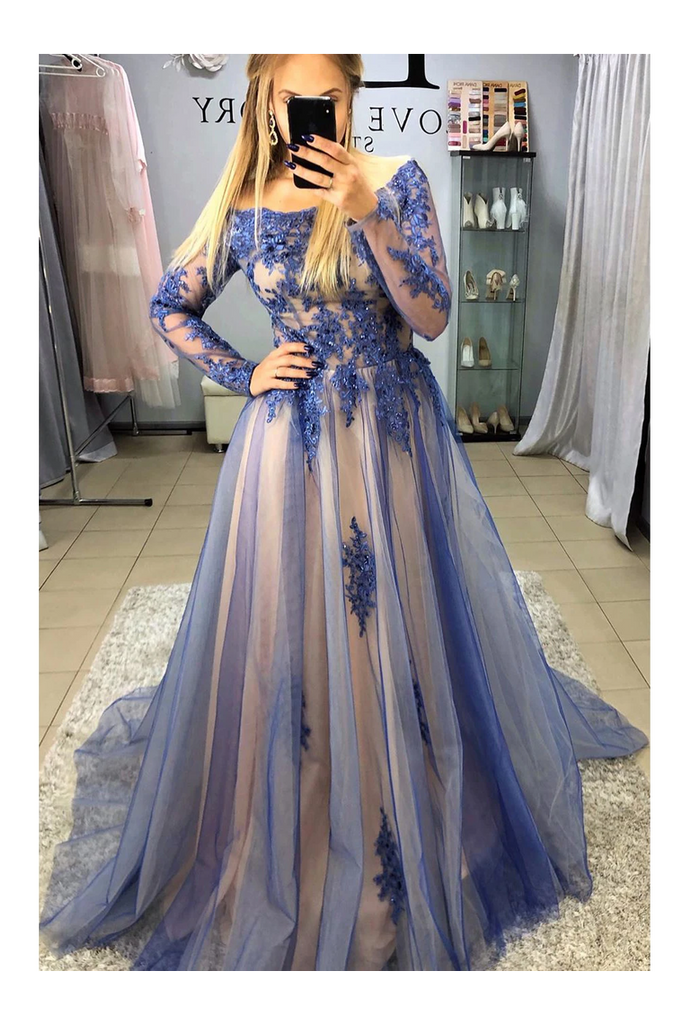 A-Line Long Sleeves Sweep Train Prom Dresses With STKPB3SD2T7