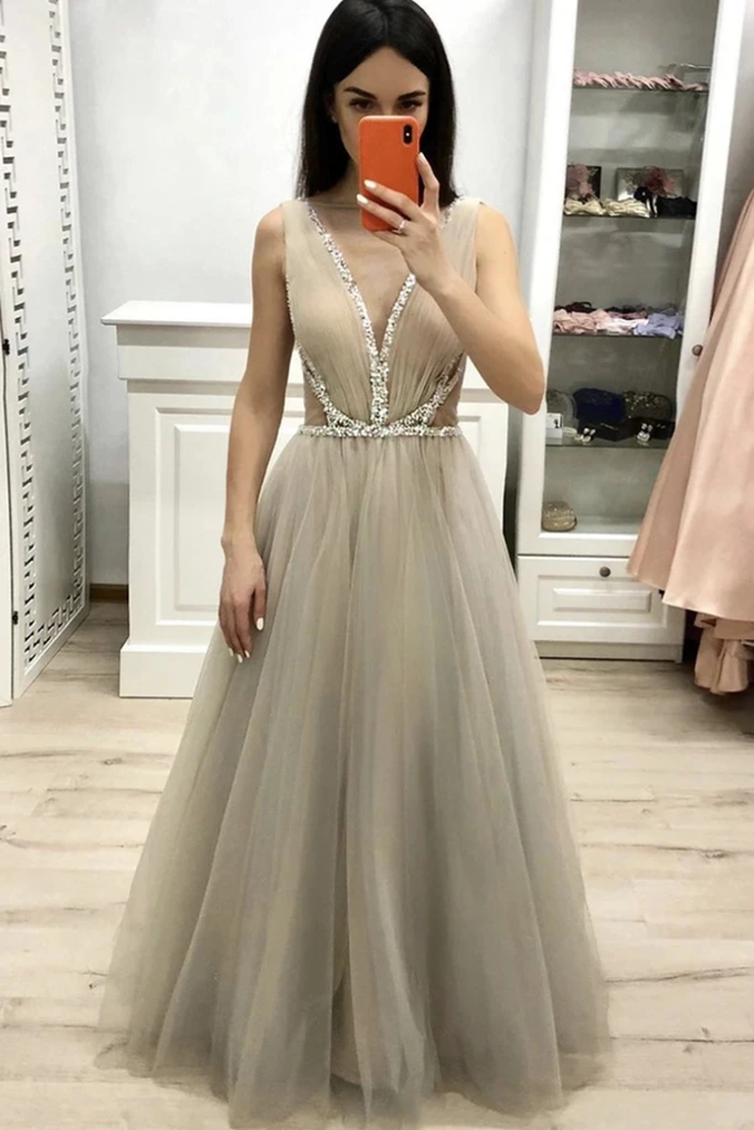 Deep V Neck Sleeveless Floor Length Prom Dress With Beading A Line Tulle Long STKPDHY22YC