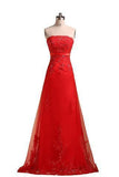 Sweetheart Pretty A-line Strapless Prom Dresses Applique Prom Dress Long Prom Dresses