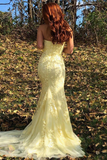 Mermaid Strapless Appliques Prom Dresses With Slit Evening STKPXH4MGL2