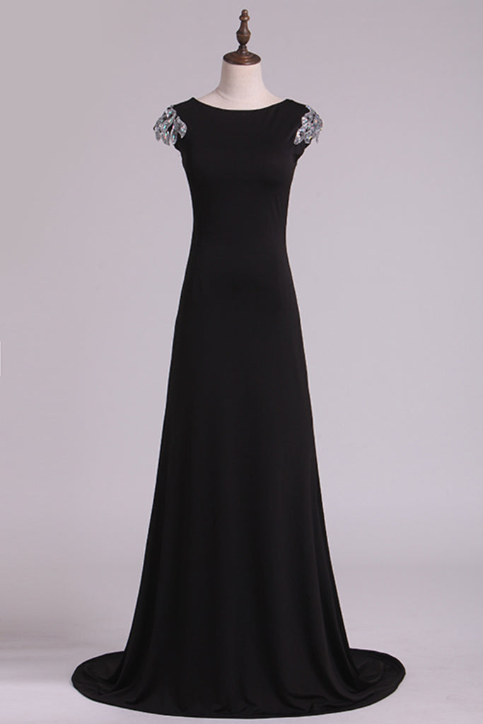 Black Beatau Evening Dresses Deep V Back Mermaid Spandex With STKP7BTLEN4