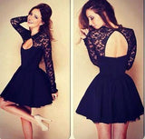 Sexy Ball Gown High Neck Long Sleeves Lace Backless Black Short Homecoming Dress