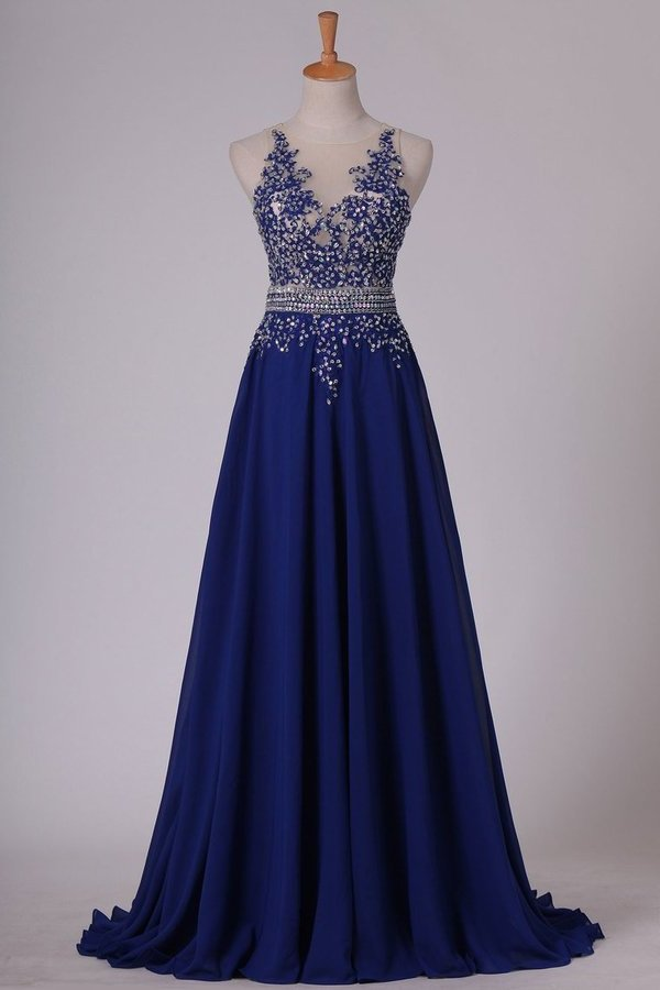 Scoop Prom Dresses A Line With Applique & Beads Sweep PLLZYCYL