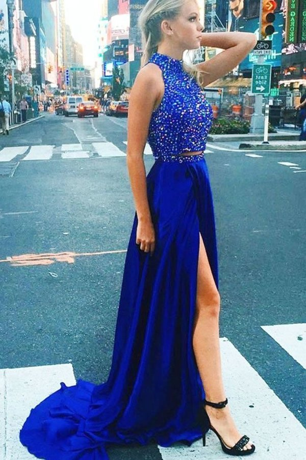 2 Pieces High Neck Royal Blue Beading Long Beautiful Prom Dresses PMG6NMDG