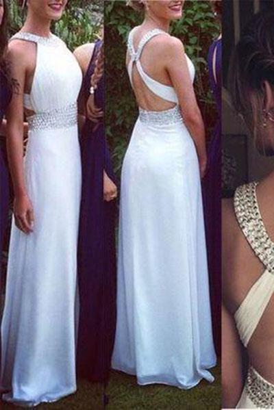 White Open Backs Simple Beaded A Line With Straps Glitter Backless Prom Dress For Teens