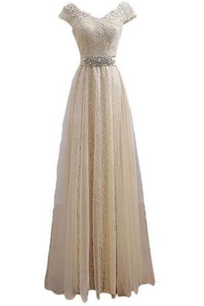 V Neck Cap Sleeve Lace Party Prom Dresses