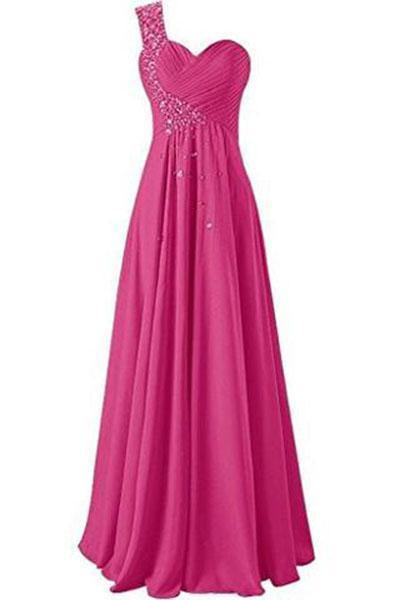 One Shoulder Long Bridesmaid Prom Dresses Chiffon Evening Gowns