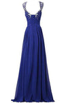 V-neck Prom Gowns Party Dresses Chiffon Long Evening Dresses