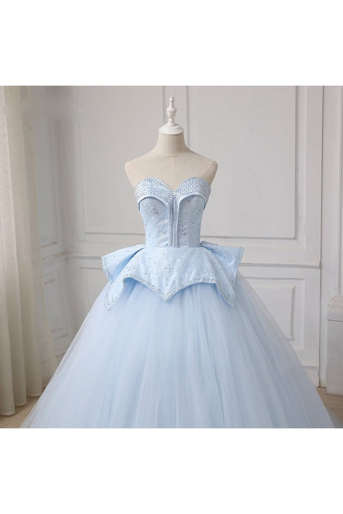 Sweetheart Ball Gown Beading Tulle Prom Dress Court Train Quinceanera STKP5FLTMDC