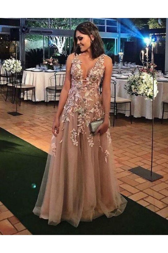 A-Line V Neck Appliques Floor Length Prom Dresses Tulle Evening STKP82T3LY5