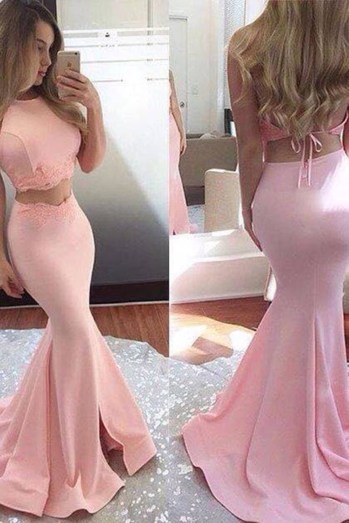 Mermaid Satin Two Pieces Prom Dresses With STKPTHSHZA6