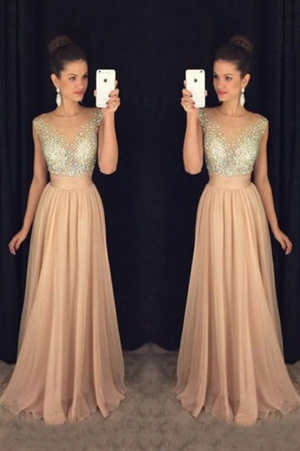 Scoop Prom Dresses A-Line Chiffon With Beaded PKERHYJ6