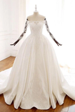 Ball Gown Long Sleeves Wedding Dress With Appliques Satin Bridal STKP1JNP34P