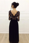 A-Line Long Sleeves Tulle Floor Length Black Prom Dress STKP4DAY74D